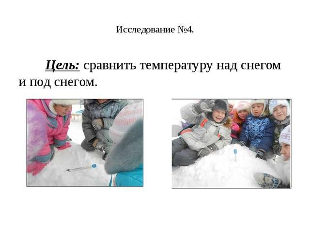 Исследование №4. Цель:сравнить температуру над снегом и под снегом.