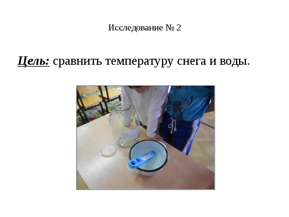 Исследование № 2 Цель:сравнить температуру снега и воды.