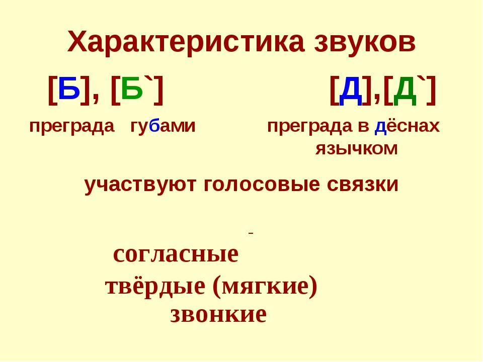 Характеристика звуков участвуют голосовые связки согласные твёрдые (мягкие) з...