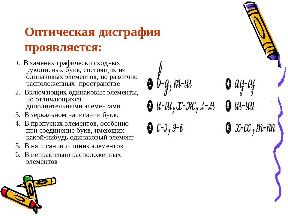 Оптическая дисграфия проявляется: 1. В заменах графически сходных рукописных...