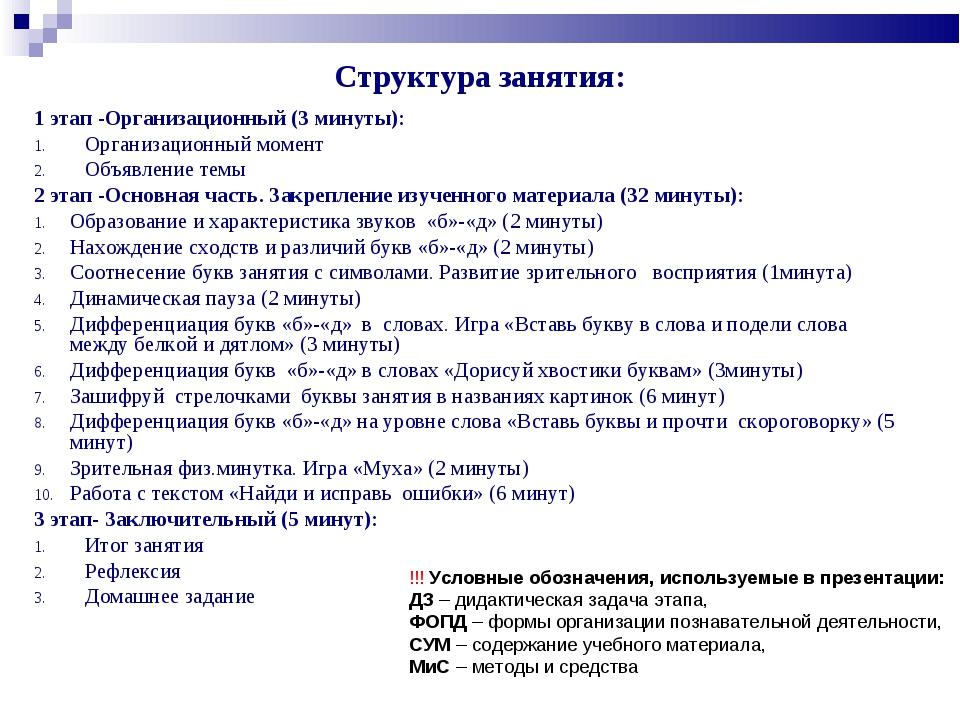 Структура занятия: 1 этап -Организационный (3 минуты): Организационный момент...