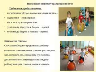 Построение системы упражнений на мяче Требования к работе на мяче: нескользящ