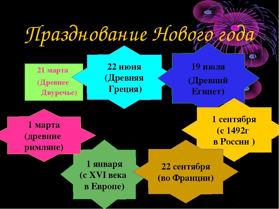 Празднование Нового года 1 января (с XVI века в Европе) 21 марта (Древнее Дву...