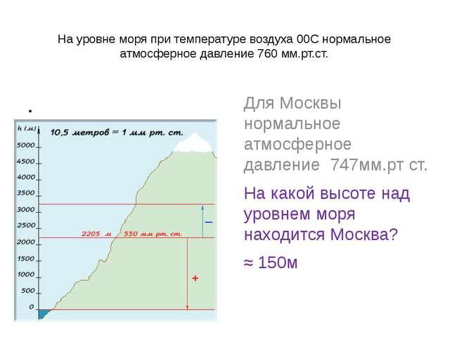 На уровне моря при температуре воздуха 00С нормальное атмосферное давление 76...
