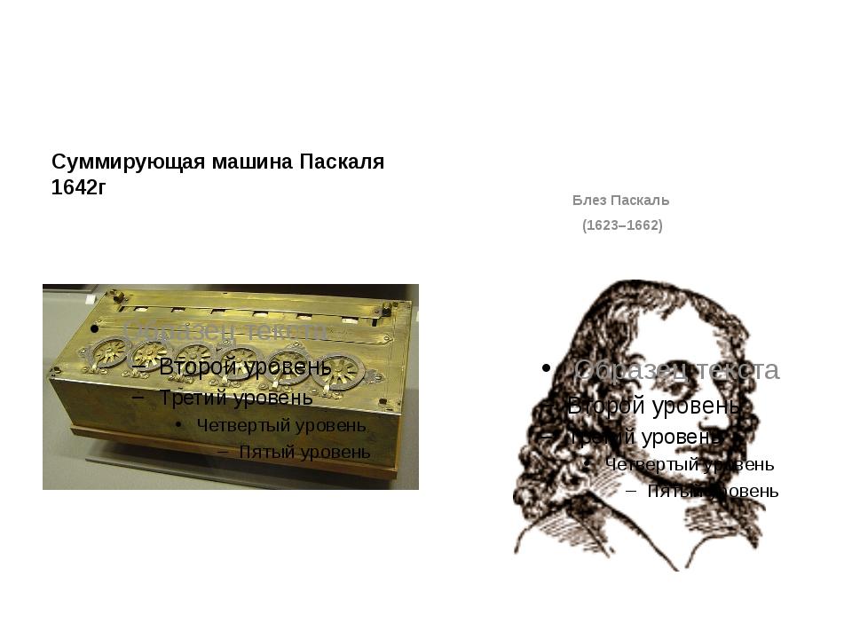 Суммирующая машина Паскаля 1642г Блез Паскаль (1623–1662) Может и не первый...