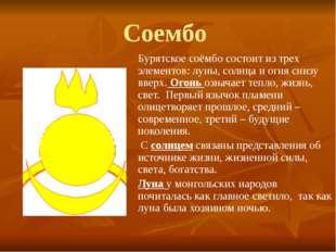 Соембо Бурятское соёмбо состоит из трех элементов: луны, солнца и огня снизу