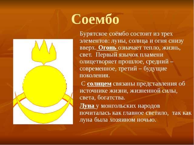 Соембо Бурятское соёмбо состоит из трех элементов: луны, солнца и огня снизу...