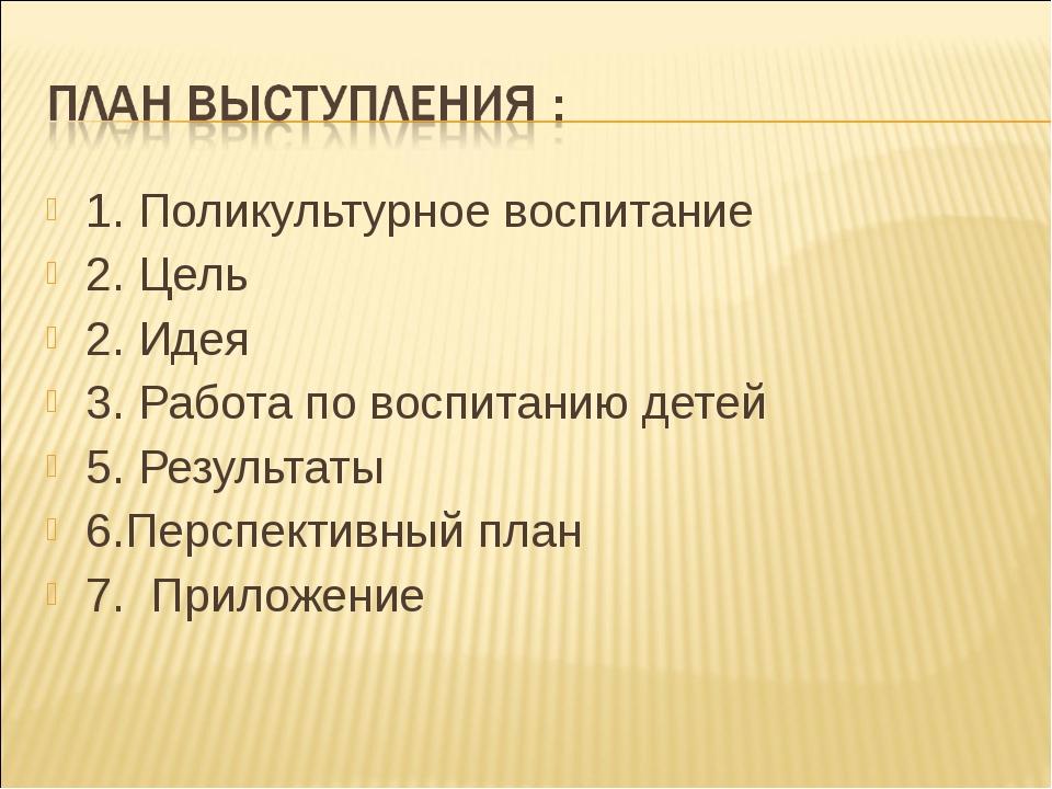 1. Поликультурное воспитание 2. Цель 2. Идея 3. Работа по воспитанию детей 5....