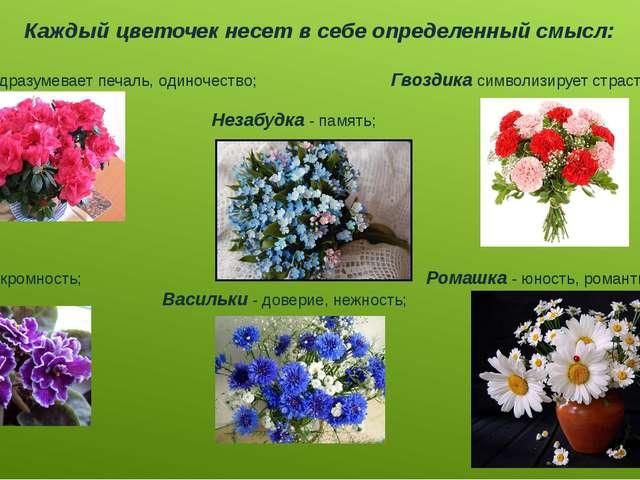 Каждый цветочек несет в себе определенный смысл: Азалияподразумевает печаль,...