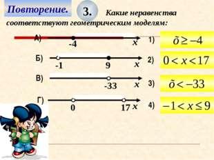 Повторение. 3. Какие неравенства соответствуют геометрическим моделям: В) Г)