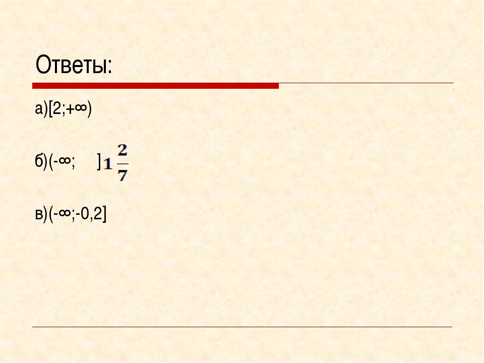 Ответы: а)[2;+∞) б)(-∞; ] в)(-∞;-0,2]