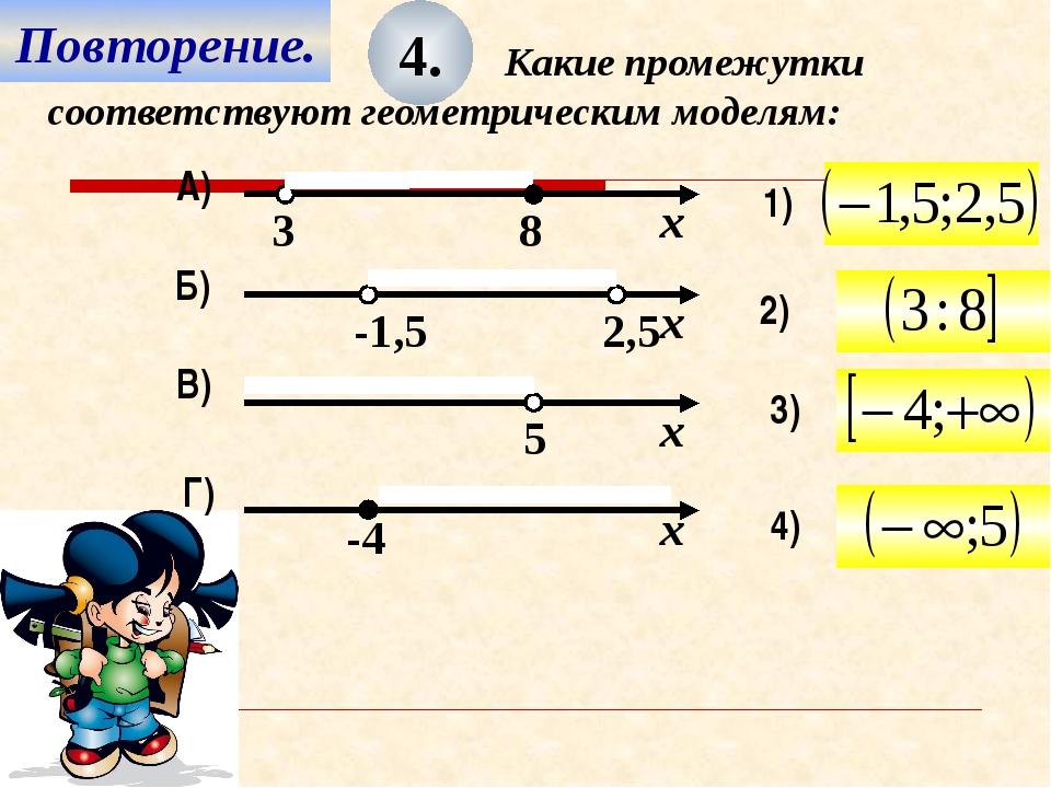 Повторение. 4. Какие промежутки соответствуют геометрическим моделям: 4) 3) 2...