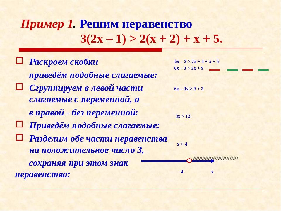 Пример 1. Решим неравенство 3(2х – 1) > 2(х + 2) + х + 5. Раскроем скобки при...
