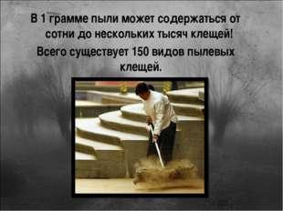 В 1 грамме пыли может содержаться от сотни до нескольких тысяч клещей! Всего