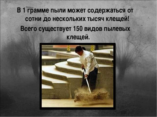 В 1 грамме пыли может содержаться от сотни до нескольких тысяч клещей! Всего...