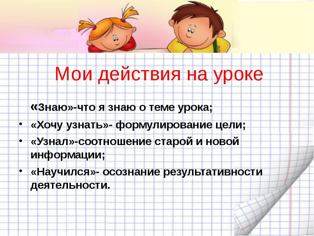 Мои действия на уроке «Знаю»-что я знаю о теме урока; «Хочу узнать»- формулир...