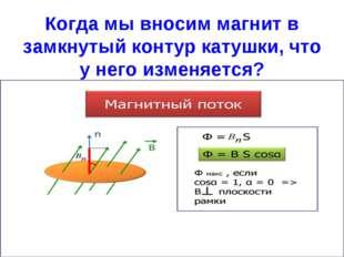 Когда мы вносим магнит в замкнутый контур катушки, что у него изменяется?