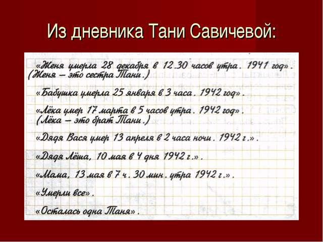 Из дневника Тани Савичевой: