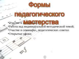 Участие в заседаниях; Работа над индивидуальной методической темой; Участие в
