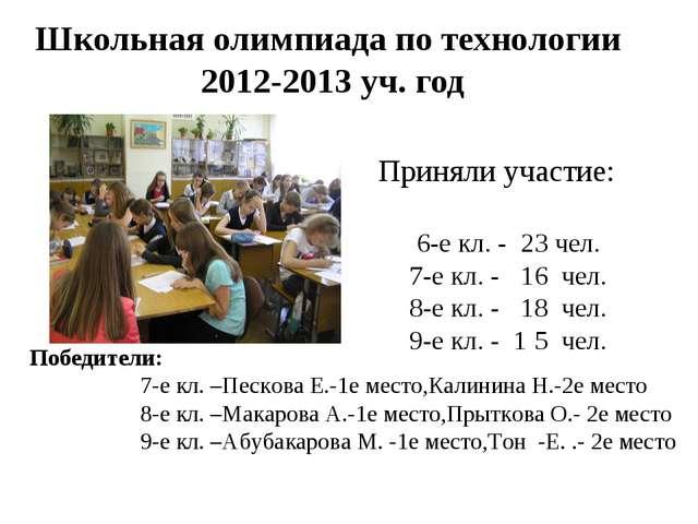 Школьная олимпиада по технологии 2012-2013 уч. год Приняли участие: 6-е кл. -...