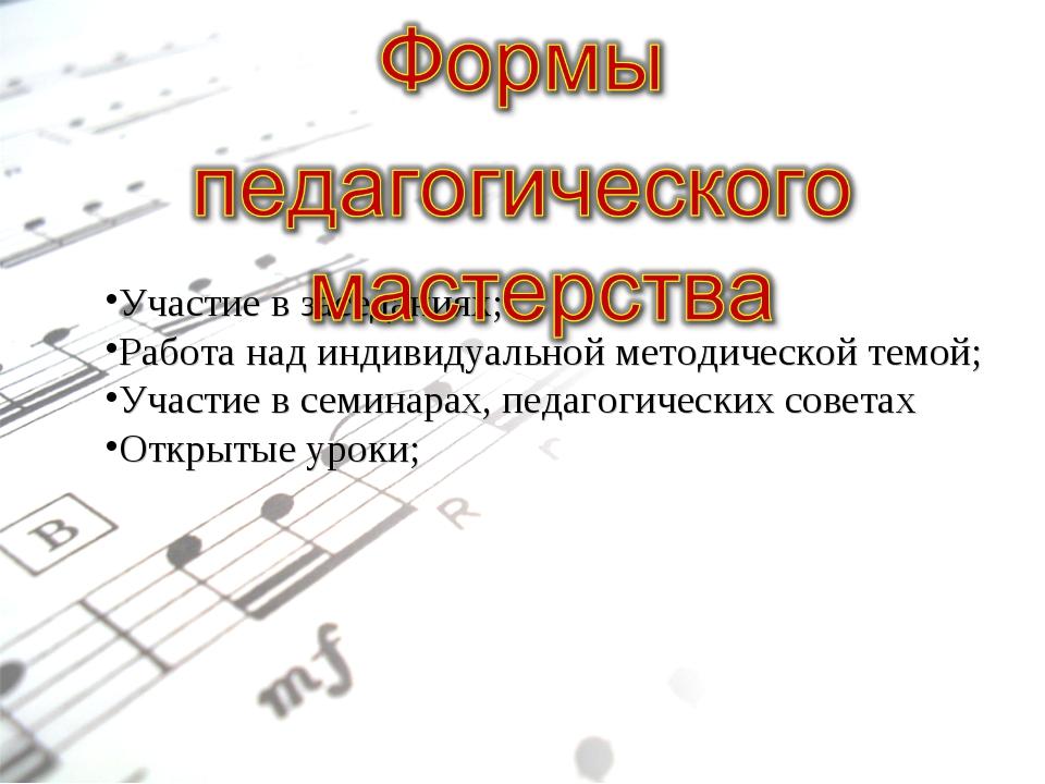 Участие в заседаниях; Работа над индивидуальной методической темой; Участие в...