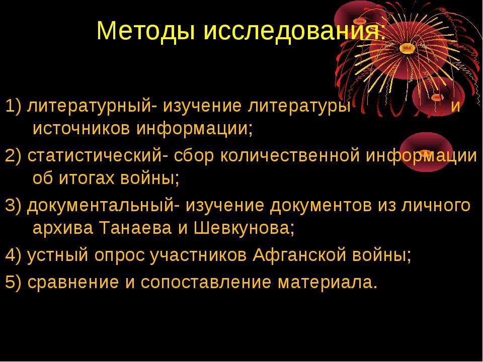 Методы исследования: 1) литературный- изучение литературы и источников информ...