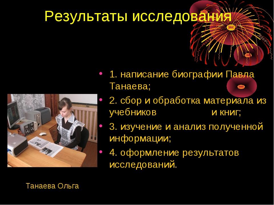 Результаты исследования 1. написание биографии Павла Танаева; 2. сбор и обраб...
