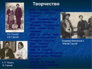 """Творчество Л.Н. Толстой и М. Горький 1895 - """"Челкаш"""", """"Старуха Изергиль"""", """"Пе"""