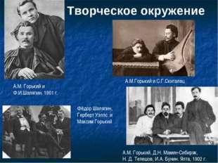 Творческое окружение А.М. Горький и Ф.И.Шаляпин. 1901 г. А.М.Горький и С.Г.Ск