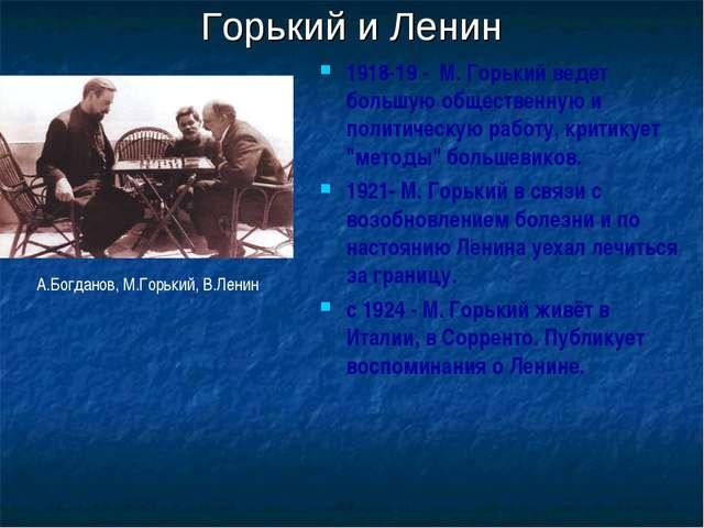 Горький и Ленин 1918-19 - M. Горький ведет большую общественную и политическу...