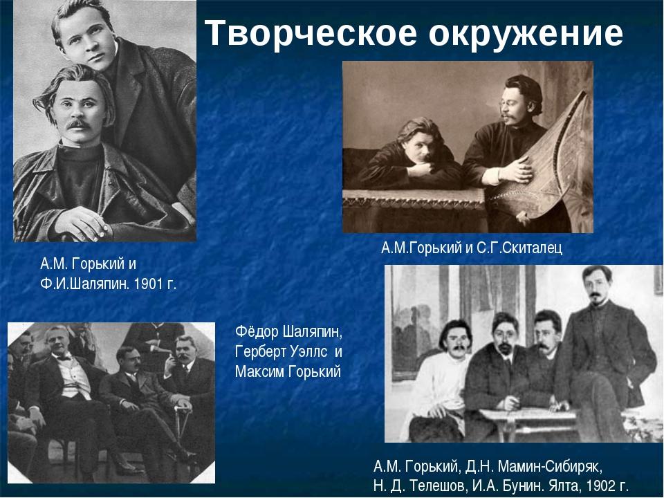 Творческое окружение А.М. Горький и Ф.И.Шаляпин. 1901 г. А.М.Горький и С.Г.Ск...