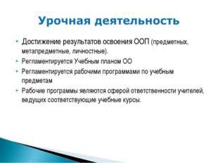 Достижение результатов освоения ООП (предметных, метапредметные, личностные).