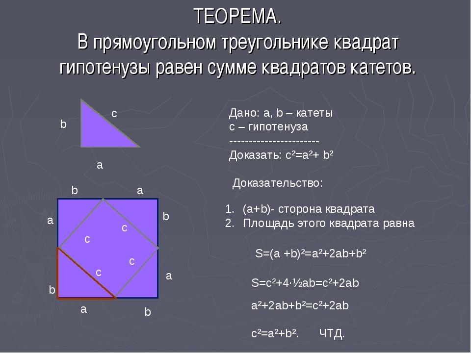 ТЕОРЕМА. В прямоугольном треугольнике квадрат гипотенузы равен сумме квадрато...