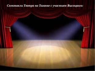 Спектакли Театра на Таганке с участием Высоцкого: