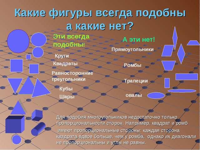 Какие фигуры всегда подобны а какие нет? Круги Квадраты Равносторонние треуго...