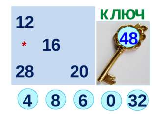 32 4 ключ 6 48 0 12 16 20 28 * 8