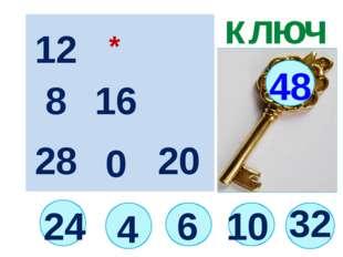 24 ключ 6 48 12 16 20 28 8 4 * 0 10 32