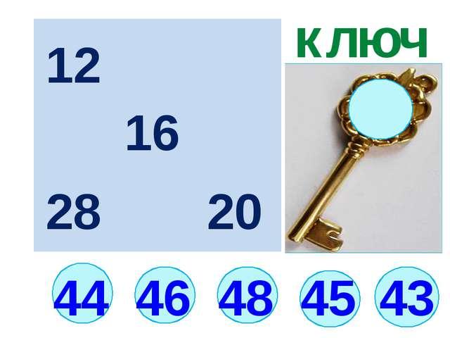 43 44 ключ 46 48 45 12 16 20 28