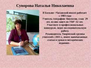 Суворова Наталья Николаевна В Больше –Чаганской школе работает с 1983 года Уч
