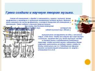 Греки создали и научную теорию музыки. Учение об отношениях, о дробях и связы