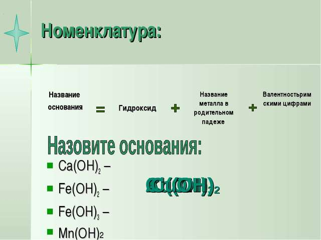Номенклатура: Ca(OH)2 – Fe(OH)2 – Fe(OH)3 – Mn(OH)2 Zn(OH)2 Al(OH)3 Cu(OH)2 C...