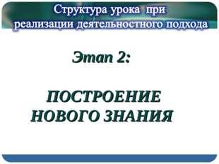 Этап 2: ПОСТРОЕНИЕ НОВОГО ЗНАНИЯ