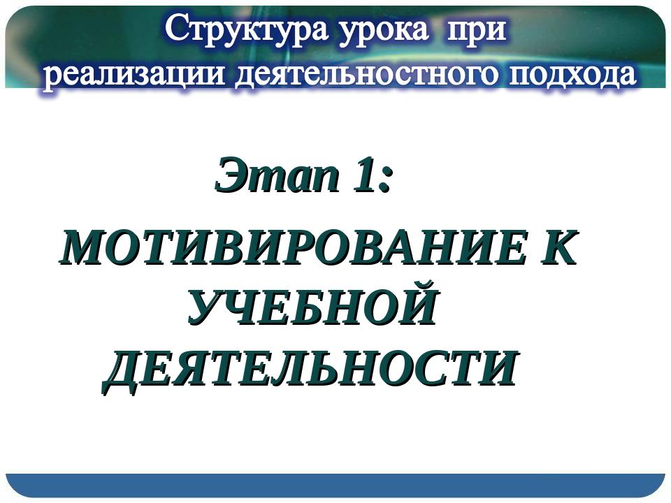 Этап 1: МОТИВИРОВАНИЕ К УЧЕБНОЙ ДЕЯТЕЛЬНОСТИ