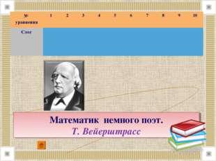 Математик немного поэт. Т.Вейерштрасс № уравнения12345678910 Слог