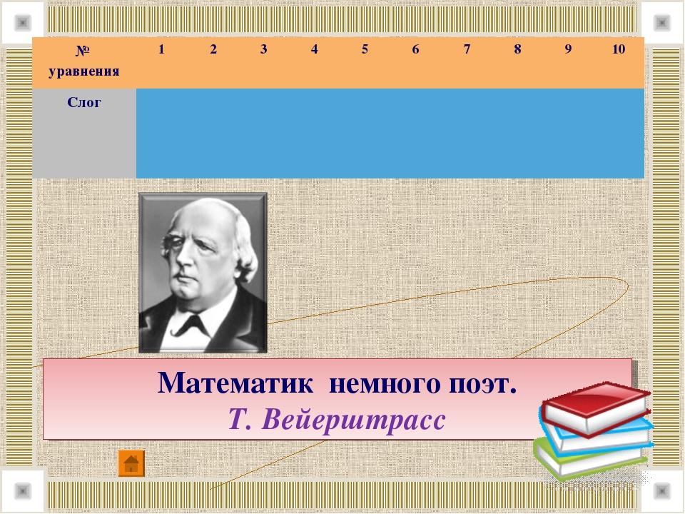 Математик немного поэт. Т.Вейерштрасс № уравнения12345678910 Слог...