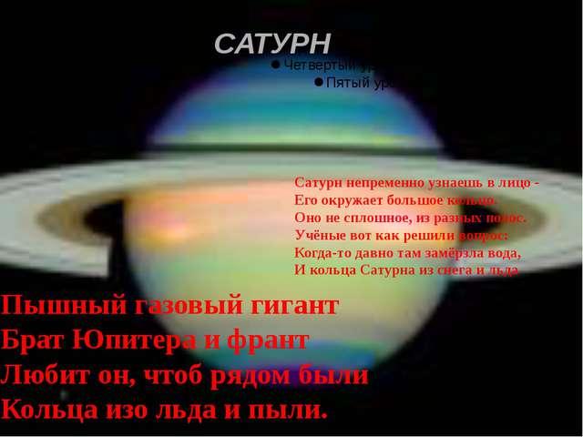 САТУРН Пышный газовый гигант Брат Юпитера и франт Любит он, чтоб рядом были К...