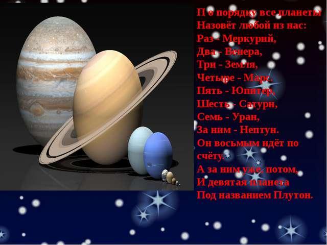 П о порядку все планеты Назовёт любой из нас: Раз - Меркурий, Два - Венера,...