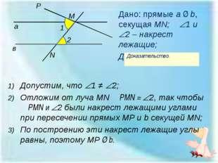 Дано: прямые a ∥ b, секущая MN; 1 и 2 – накрест лежащие; Доказать: 1 = 2;