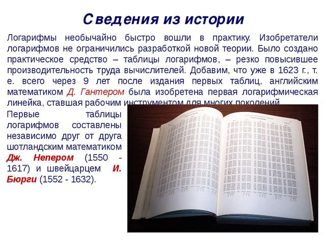 Сведения из истории Логарифмы необычайно быстро вошли в практику. Изобретател...