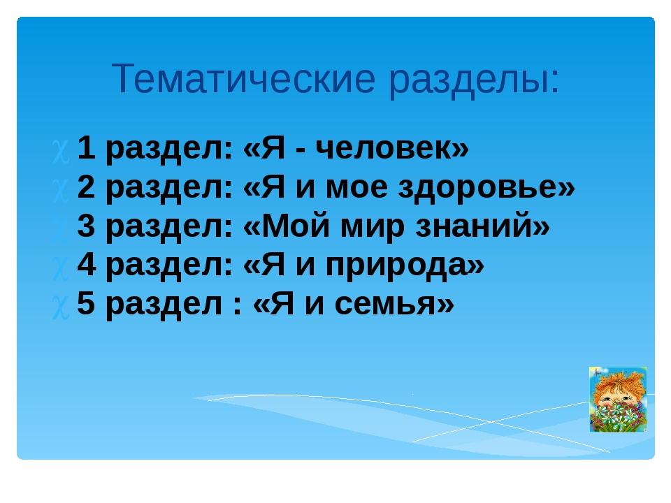 Тематические разделы: 1 раздел: «Я - человек» 2 раздел: «Я и мое здоровье» 3...